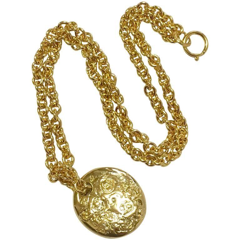 Mint vintage chanel golden long chain necklace with round coin vintage chanel golden long chain necklace with round coin medal shape top 1993 aloadofball Choice Image