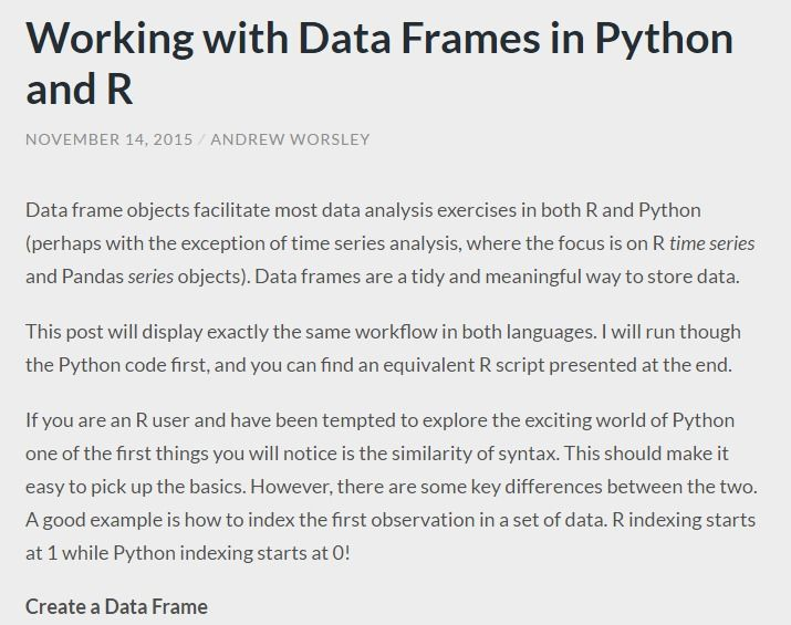 Working with Data Frames in Python and R | Data Science