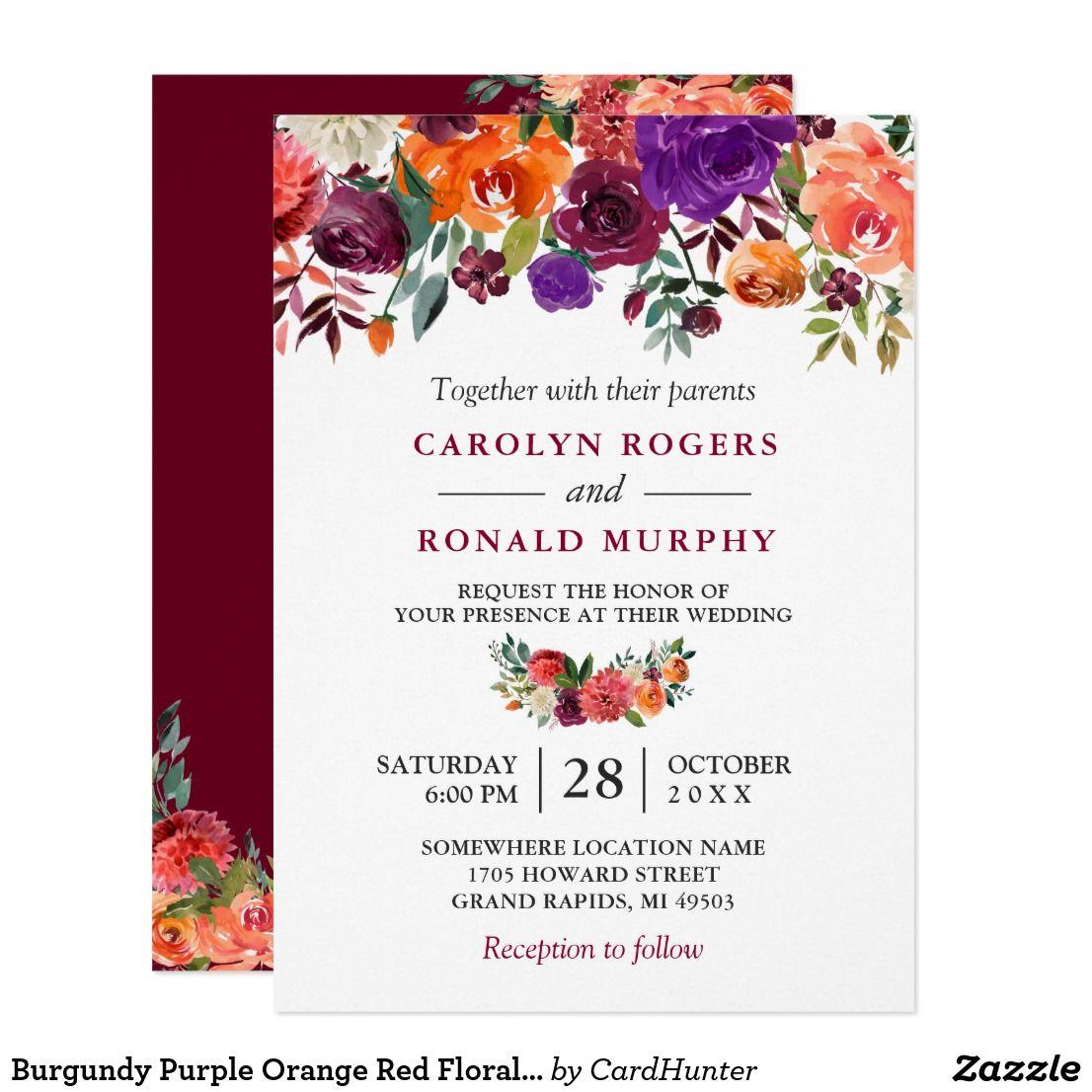 Burgundy Purple Orange Red Floral Wedding Invitation Zazzle Com