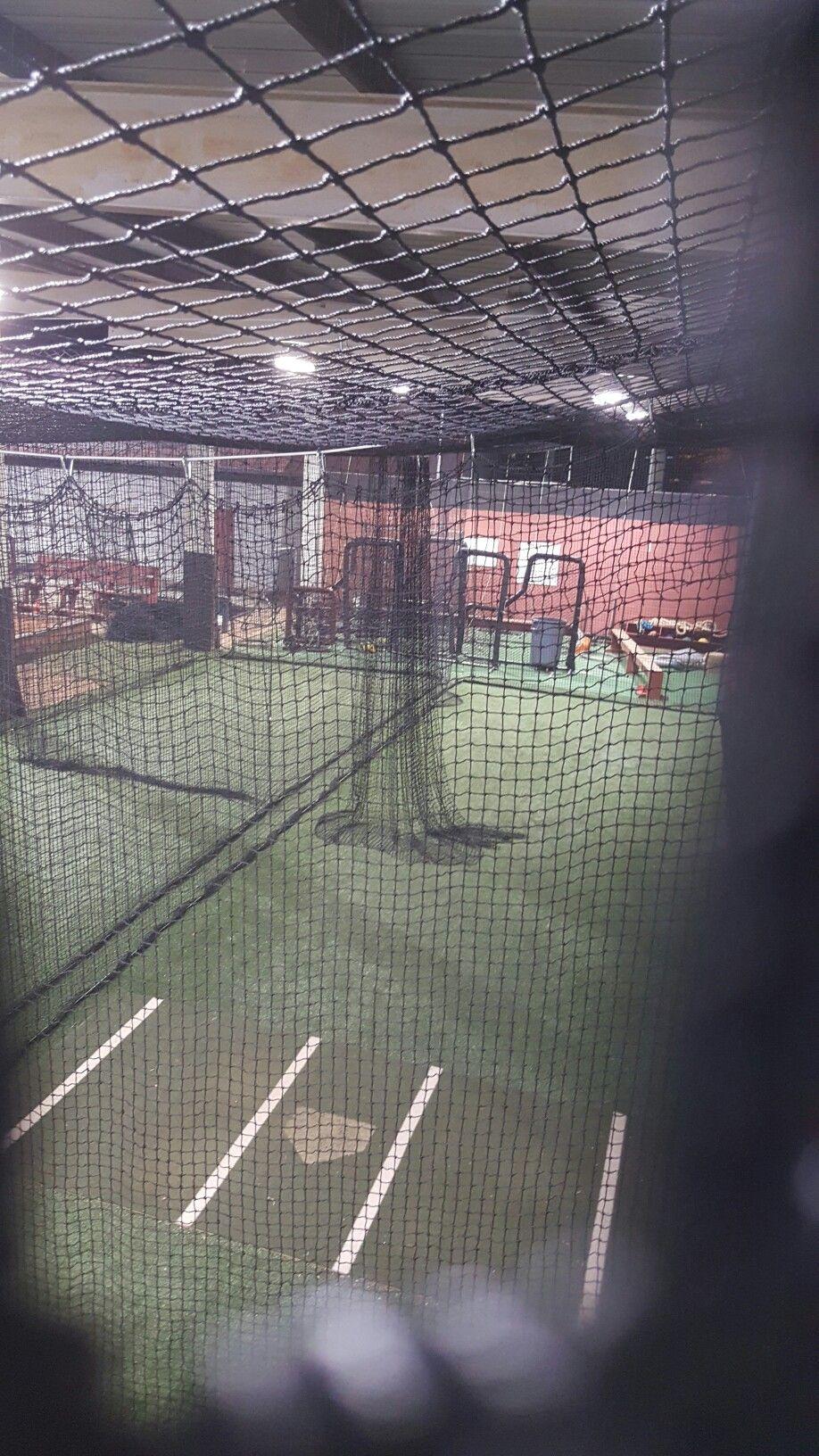 top view of a batting cage custom made indoor baseball batting