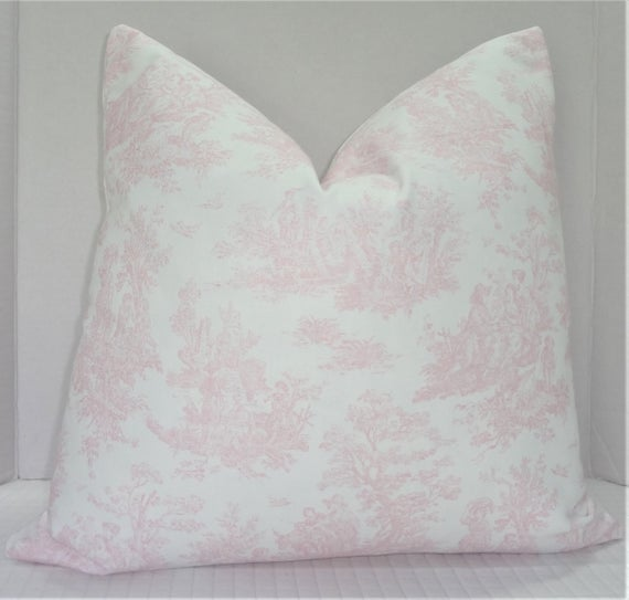Pink & White Toile Pillow Cover Baby Girl Nursery Pink Throw Pillows Decorative Toile Pillow Cover Choose Size