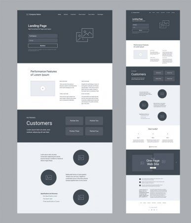 Landing page wireframe design for business. One page website layout template. Modern responsive design. Ux ui website. — Stock Illustration