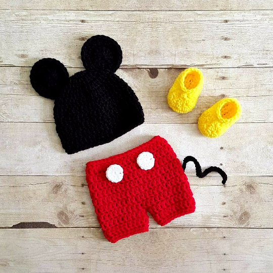 Crochet Baby Mickey Mouse Hat Shorts Diaper Cover Shoes Booties ...