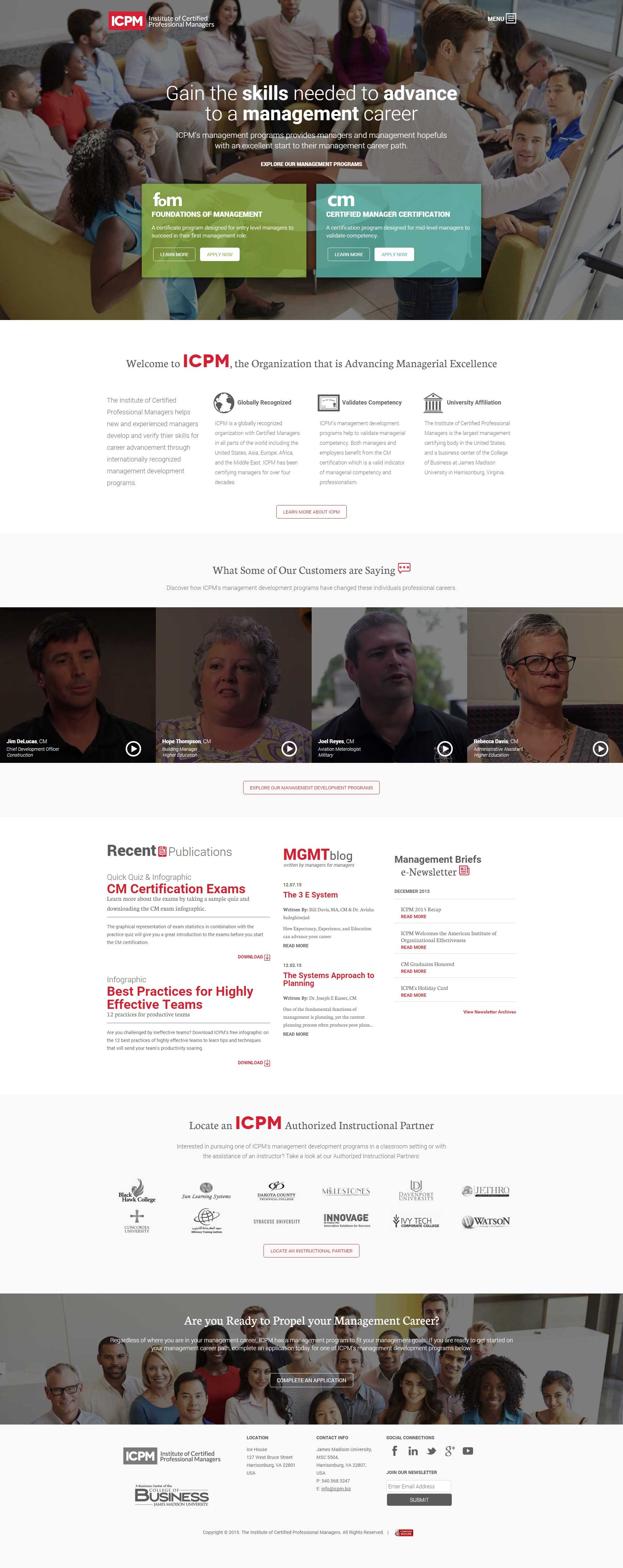 Institute of Certified Professional Managers (ICPM) website - http ...