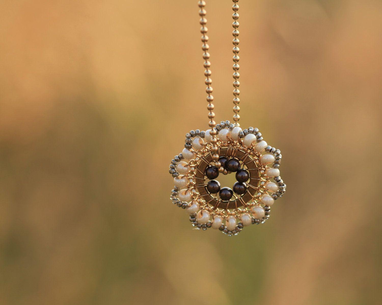 SALE - Bloom Necklace - Vintage Lamp - Pendant, Beadwork, Handmade Necklace, Bridal Accessories, Weddings. $44.00, via Etsy.