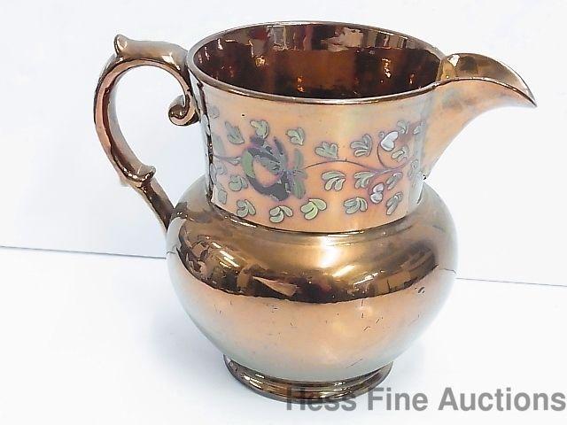 Antique 6 In Victorian Copper Lusterware Lustre 19th Century