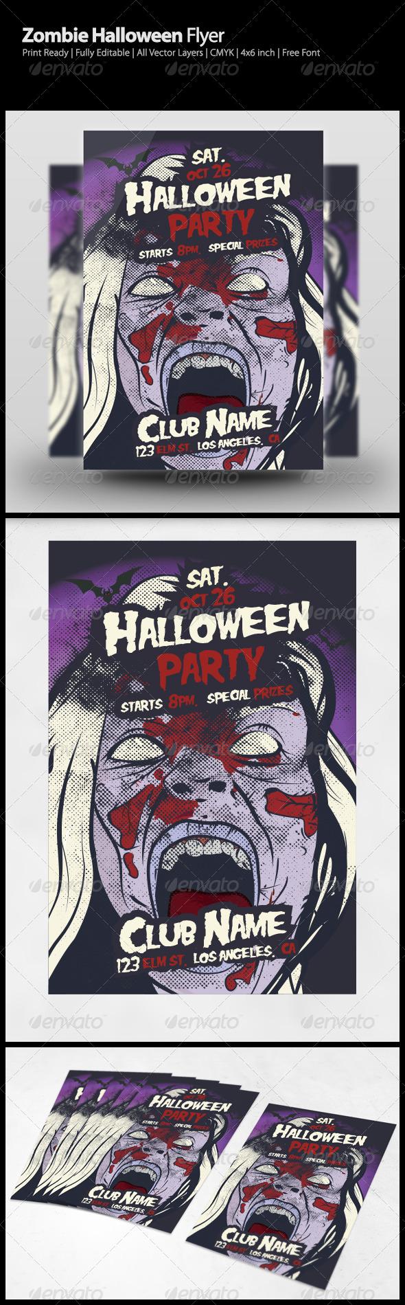 Zombie Halloween Flyer  Diseo    Flyer Template