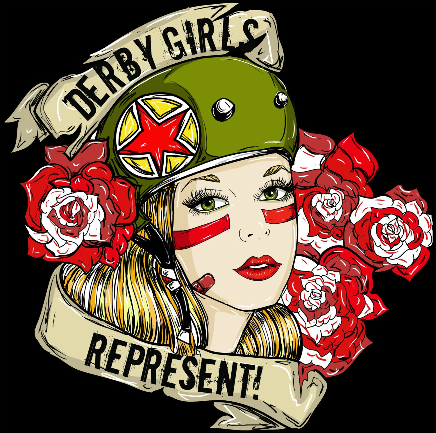 Beau Items Similar To Roller Derby Pin Up Girl Art Tattoo Art Flash CUSTOMIZED  Rockabilly Lowbrow Derby Girl Old School Tattoo Home Decor Print 12 By 16  On Etsy