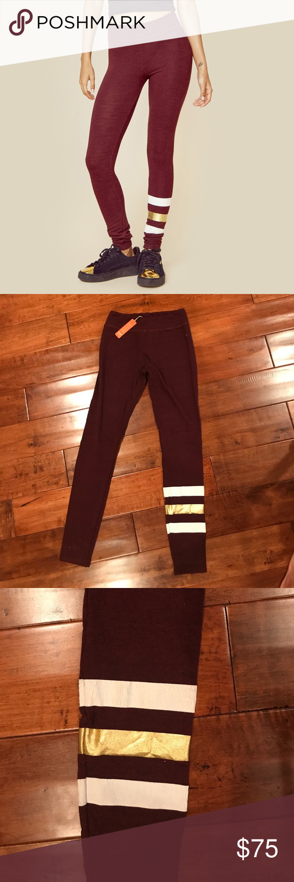 Sundry maroon skinny sweatpants, size 1 These maroon Sundry skinny sweatpants feature their signature stripe at the bottom in white and gold. Brand new with tags Sundry Pants Track Pants & Joggers