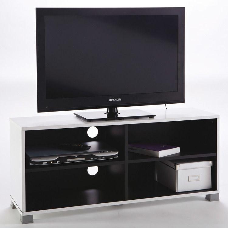 a808aa120333cc ... Meuble TV bas blanc noir 4 niches L101xP29xH44xm GOLD Gold ...
