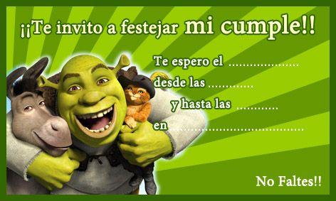 Tarjeta De Cumpleaños De Shrek Tarjetas De Invitacion