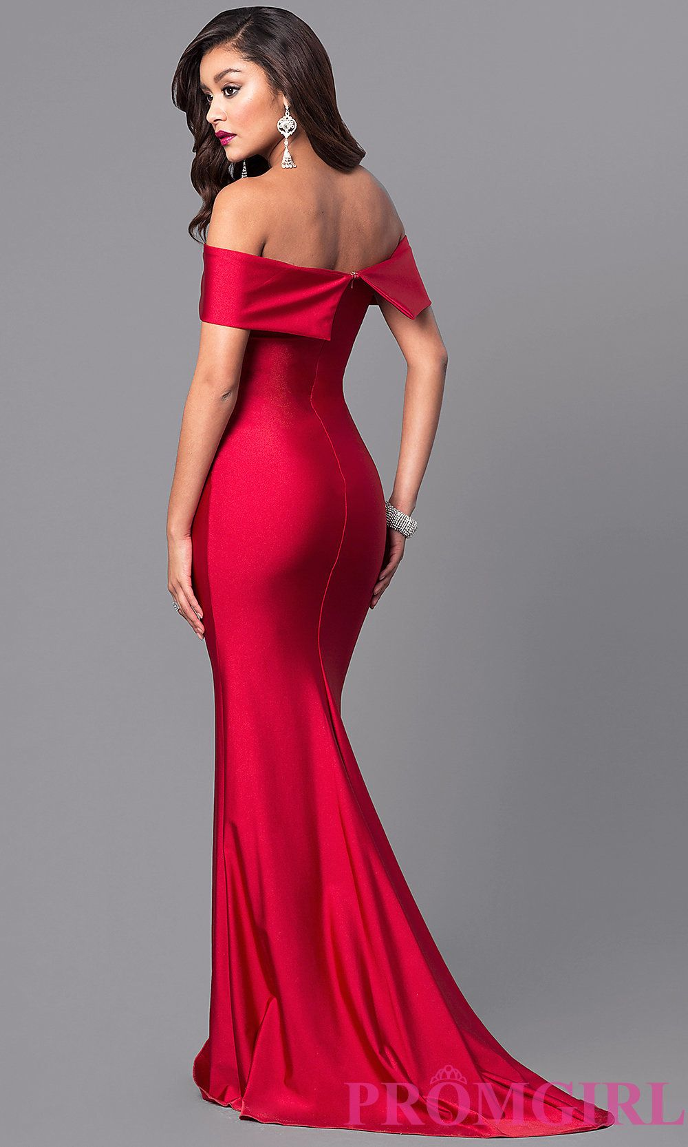414a93bb390 Image of long off-the-shoulder Atria prom dress with train. Style  AT-L5080  Back Image