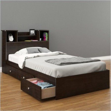 Pemberly Row Twin Storage Bed in Espresso - Walmart.com   Tween ...