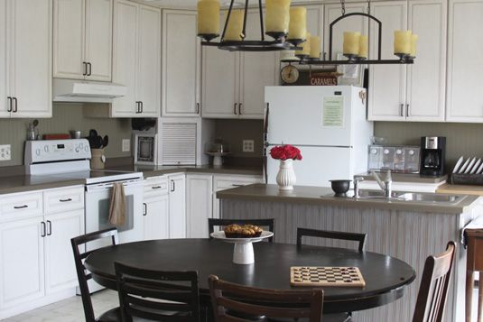 Kitchen Backsplash and Island Makeover using a roll of