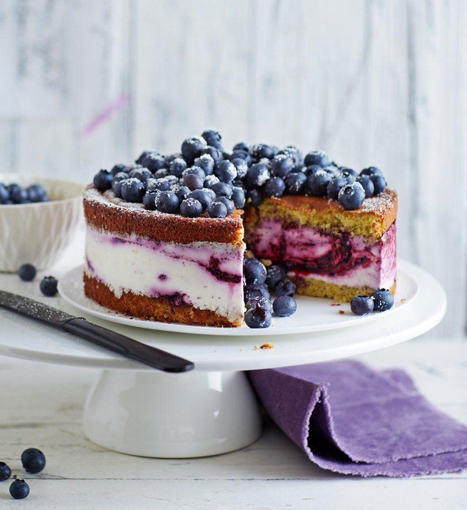 Blaubeer schoko kuchen mit quarkguss