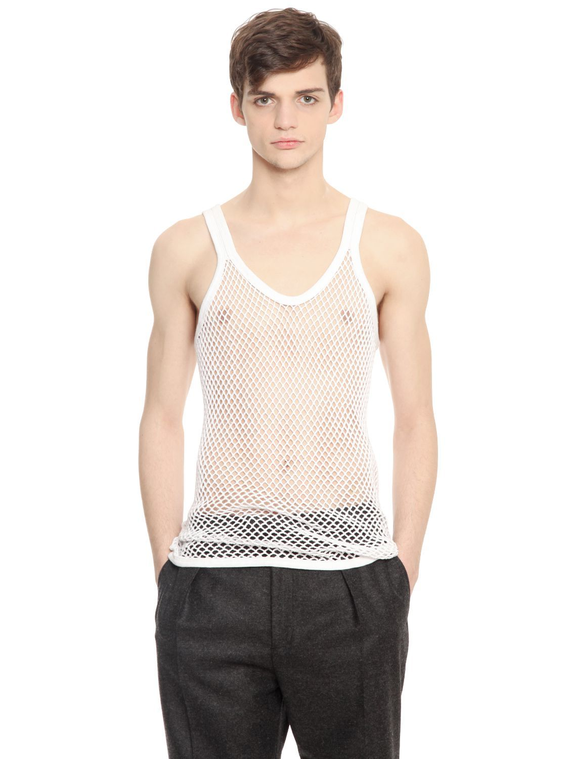 eb219ae33298af Burberry Prorsum Cotton Mesh Tank Top in White for Men