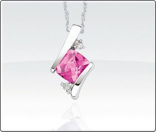 Created Pink Sapphire & Diamond Birthstone Necklace - 18in