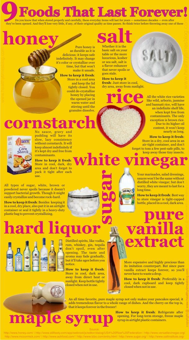 9 Foods That Last Forever Honey Salt Cornstarch Rice Who