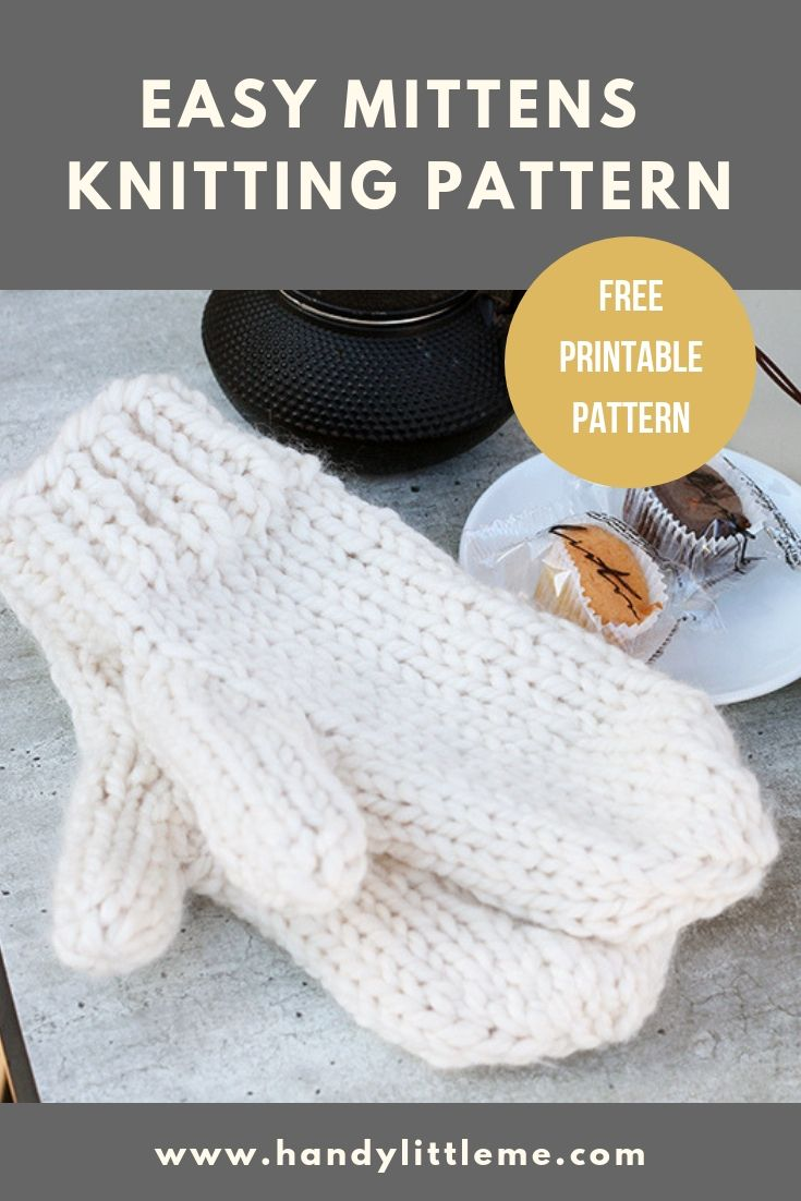 Easy Mittens Knitting Pattern | Knit Wit | Ganchillo, Agujas, Mitones