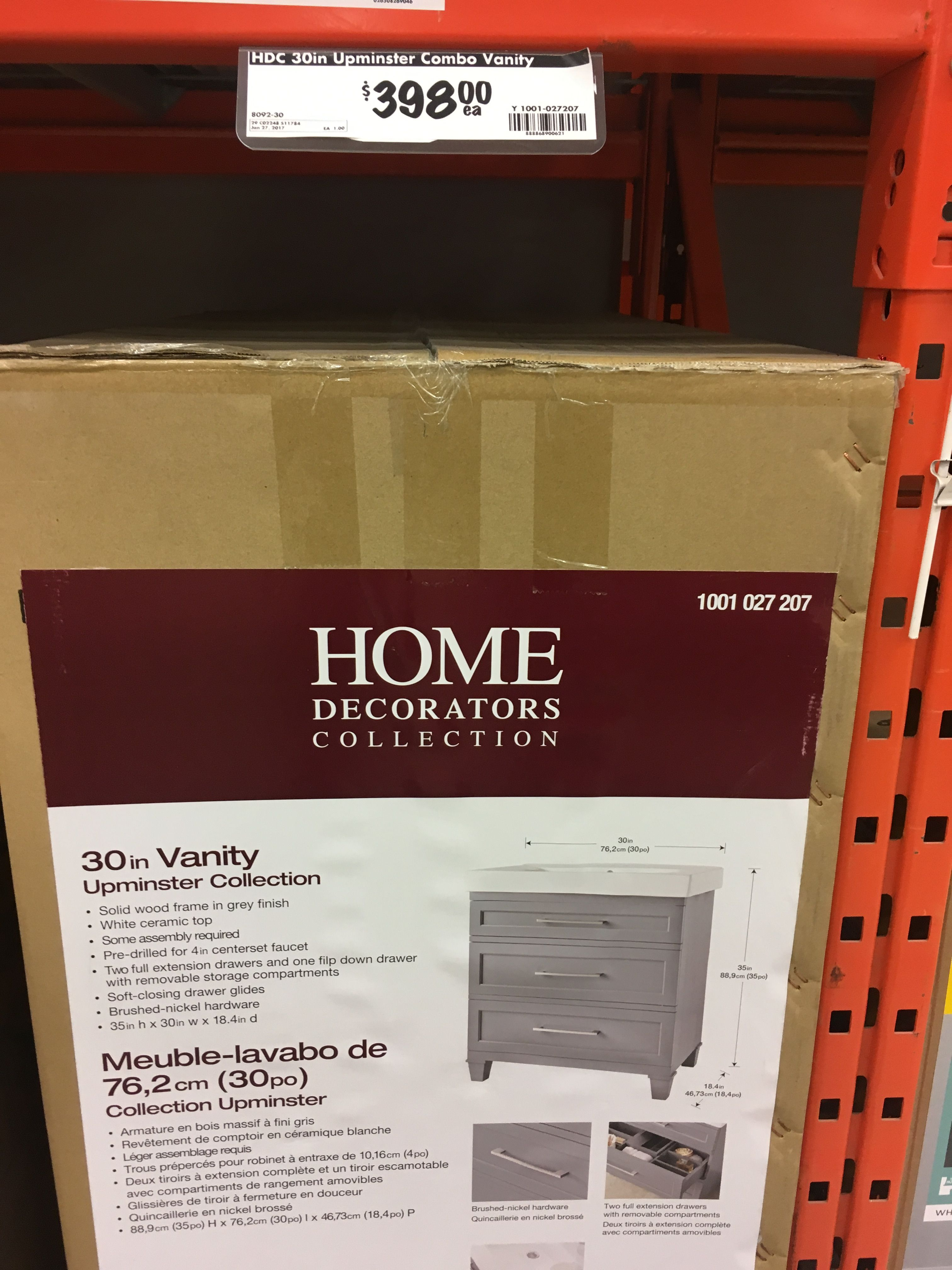 Home Depot - Upminster Collection Vanity w/Top - $398 | New Home ...