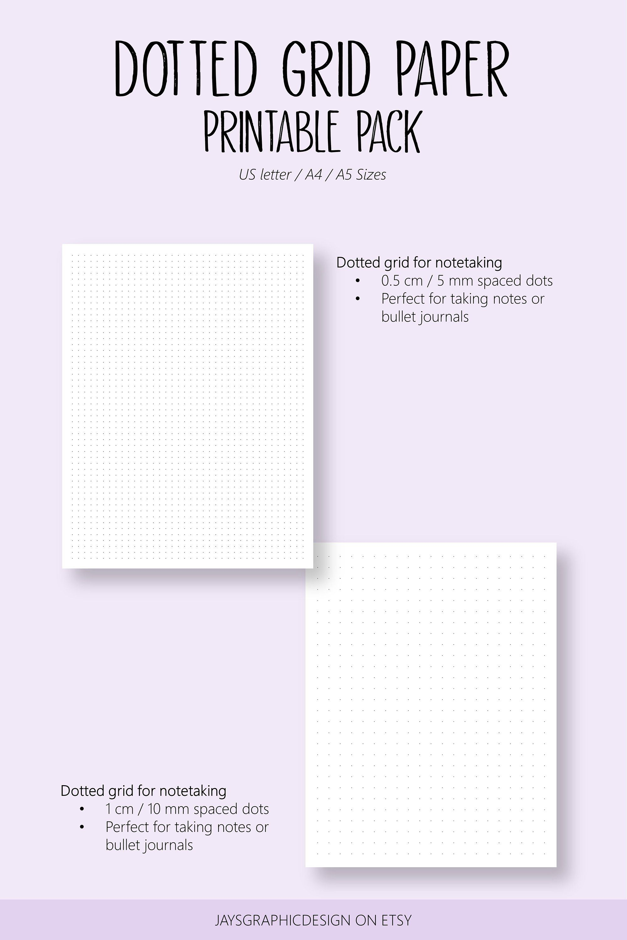 Dotted Grid Paper Student Note Taking Printable Pack A4 A5