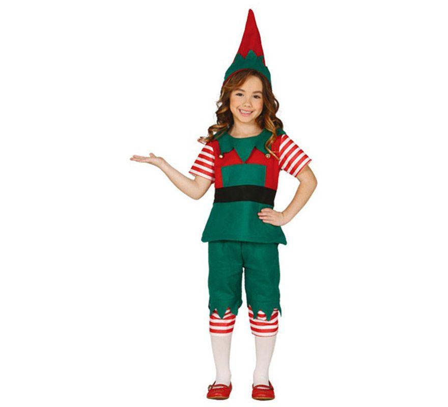 Disfraz de elfa rayas para ni a disfraces pinterest - Trajes de papa noel para ninos ...