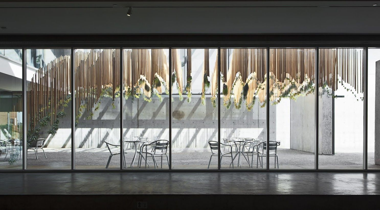 """""""Green Varnish"""" features an array of evergreen plants hanging from slices of repurposed wood; the installation diffuses light into…"""