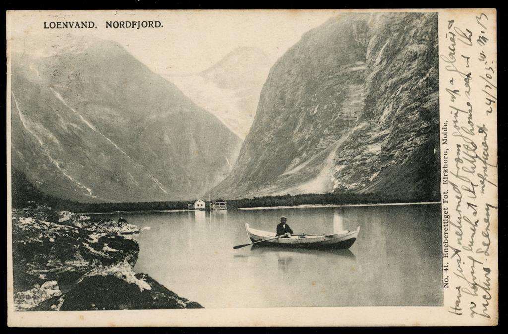 Sogn og Fjordane fylke Stryn kommune i Nordfjord Loenvand. Næroversikt, mann i robåt. Stemplet 1905. Utg Kirkhorn