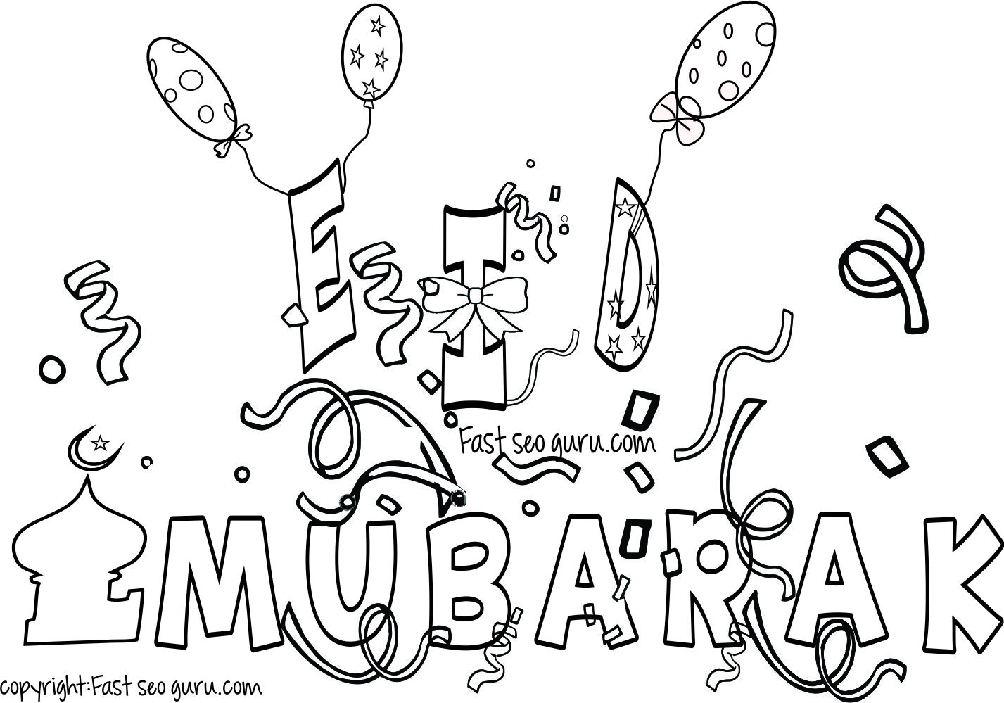 Eid Mubarak Coloring Pages For Kids With Images
