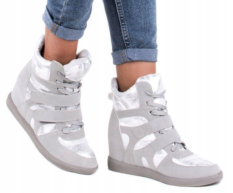 2956 Szare Botki Sneakersy Trampki Na Koturnie 41 7543949521 Oficjalne Archiwum Allegro Wedge Sneaker Sneakers Shoes