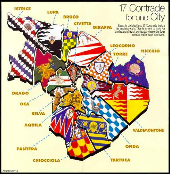 Map of the 17 different contradas in Siena showing their ... Map Of Siena Contrada Panther on siena districts, siena in tuscany, siena italy, siena neighborhoods, siena contrade, siena city, siena horse race, siena palio flag elephant,