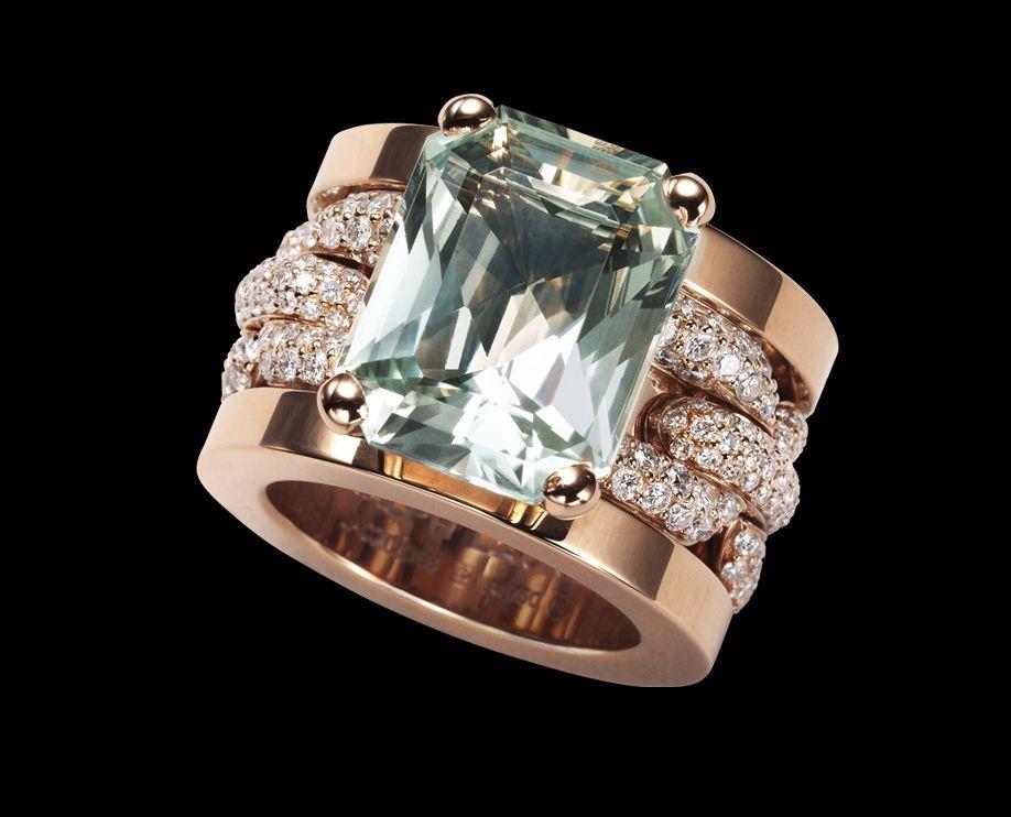 Ralph Lauren Chunky Chain Ring 18K rose gold ring with fullpav