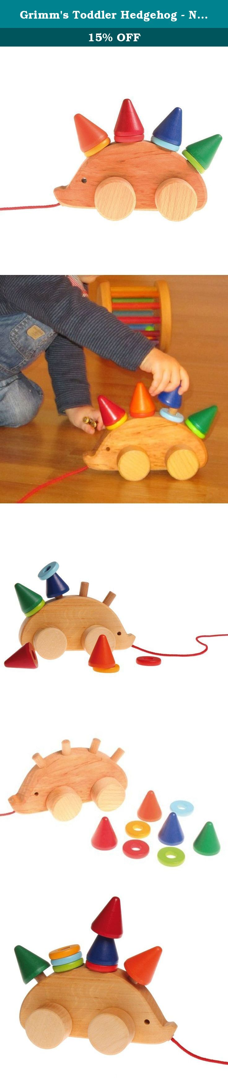 Grimm S Toddler Hedgehog Natural Wood Pull Toy With 8