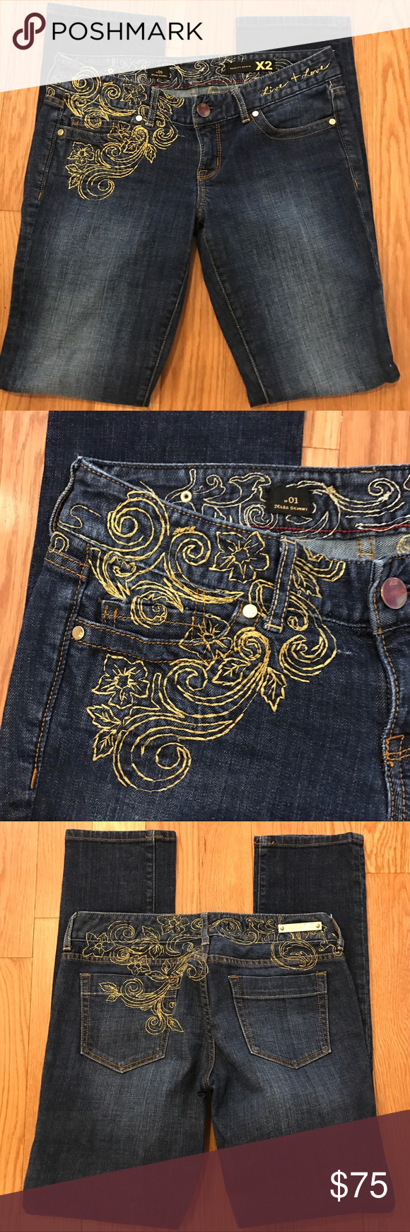 Express X2 Skinnies W Gold Embroidery