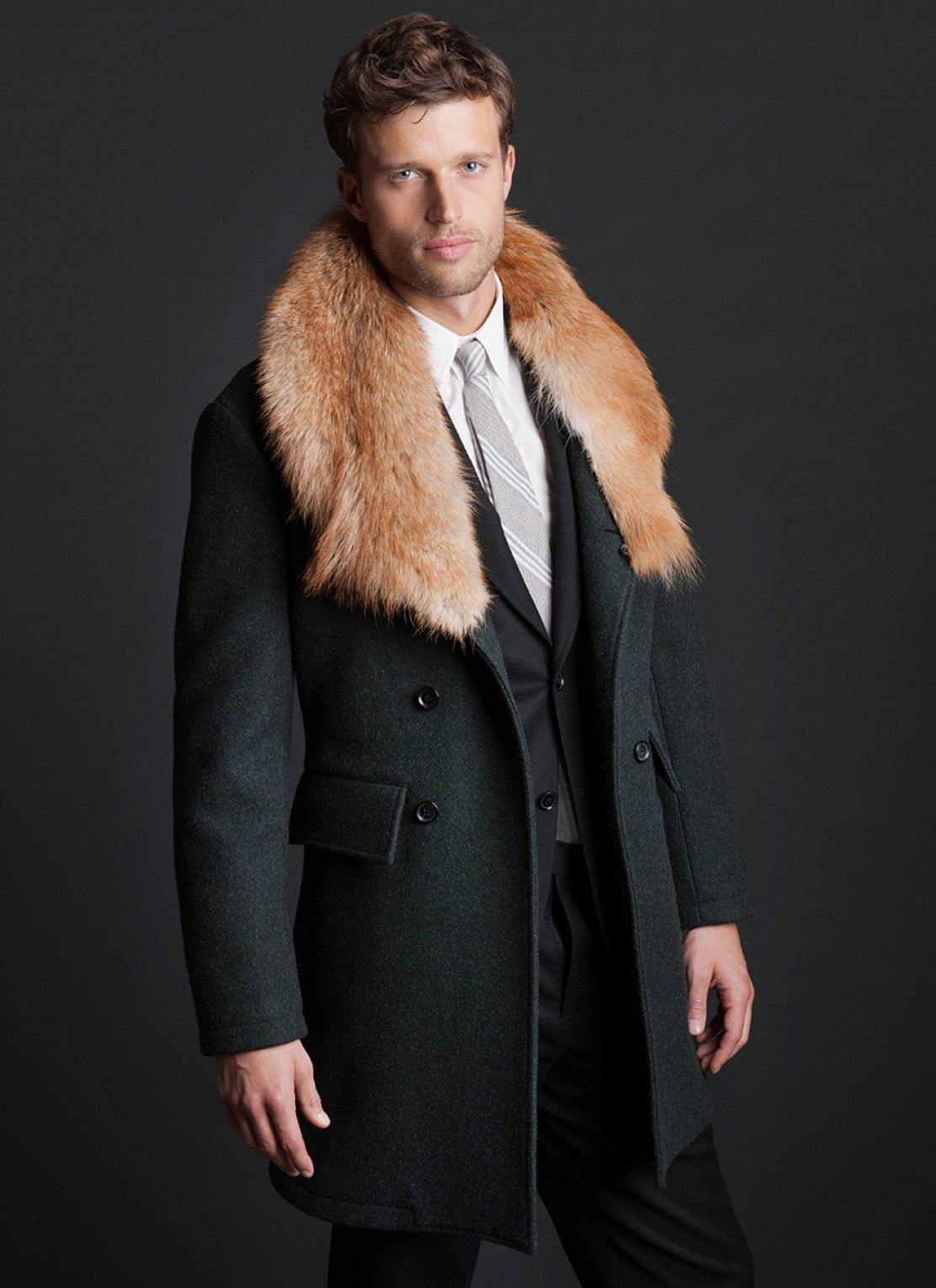 Green Lafayette Coat, Billy Reid: Wool & Cashmere, Six-On-Two Double Breasted Front, Removable Coyote Fur Collar