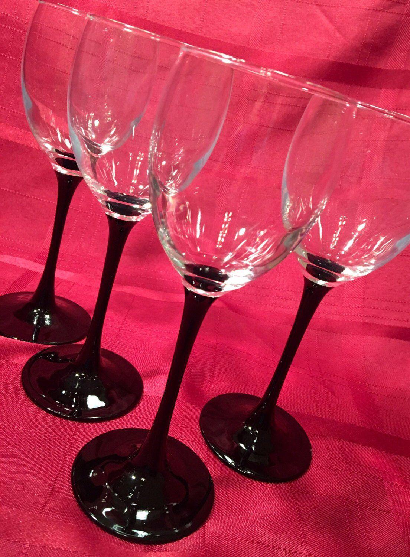 1980 S Set Of 6 Six Vintage Wine Glasses By Cris D Arques Luminarc Domino Pattern Black Stemmed W Vintage Wine Glasses Vintage Wine Wine Glasses