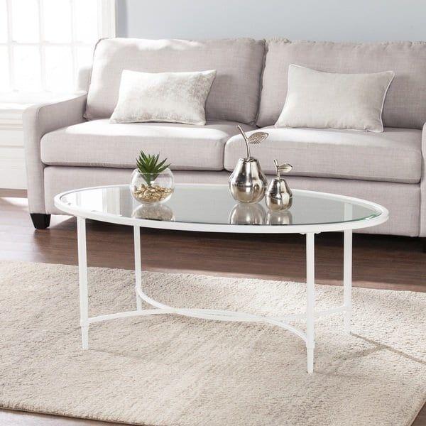 Harper Blvd Quaker Metal/Glass Oval Cocktail Table