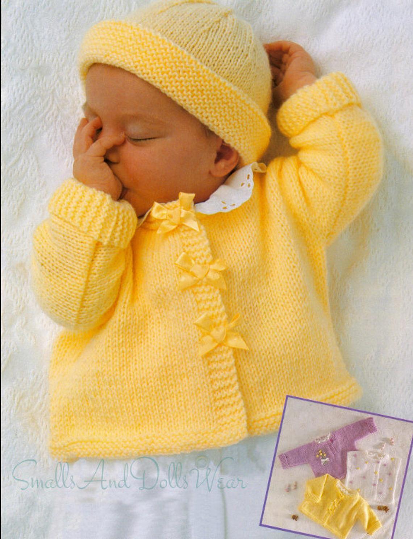 Photo of Vintage Knitting Pattern Knit Baby Girl Ribbon Cardigan Jacket Pullover Sweater Bolero Hat Set PDF Instant Digital Download 0-3 Yrs 8 Ply