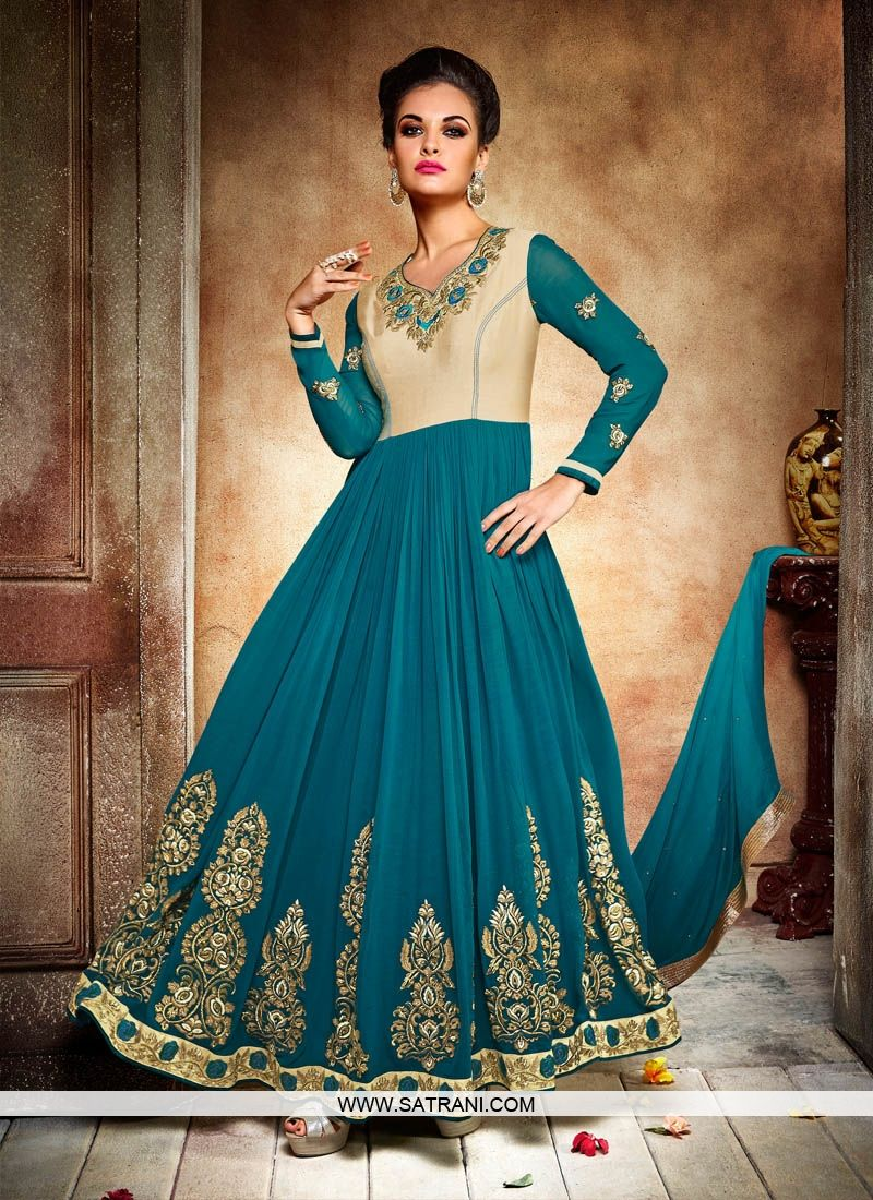 ETHNIC TEAL GREEN & CREAM COLOURED SEMI-STITCHED ANARKALI SUIT ...