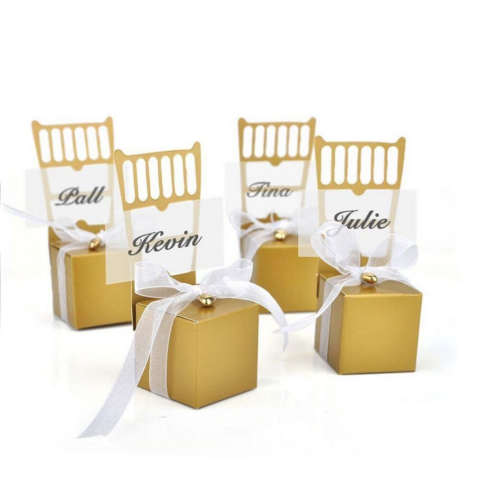 5PCS Gold Chair Candy Boxes Wedding Party Card Holder Birthday ...