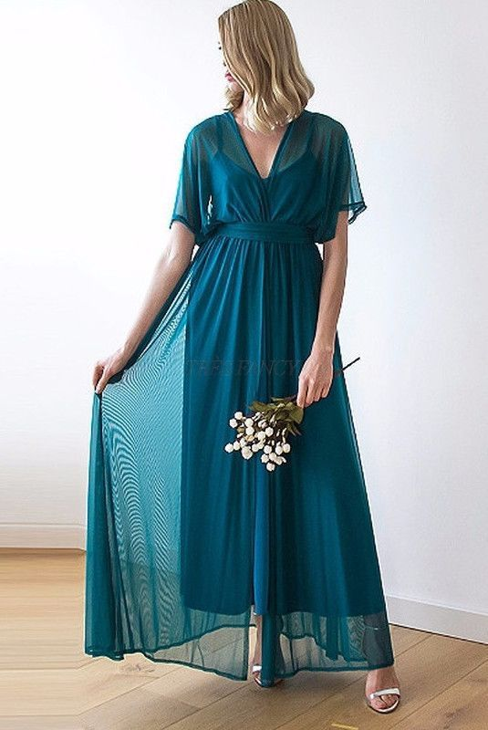 3cc43acd0b7 Teal green chiffon maxi dress with bat wings sleeves