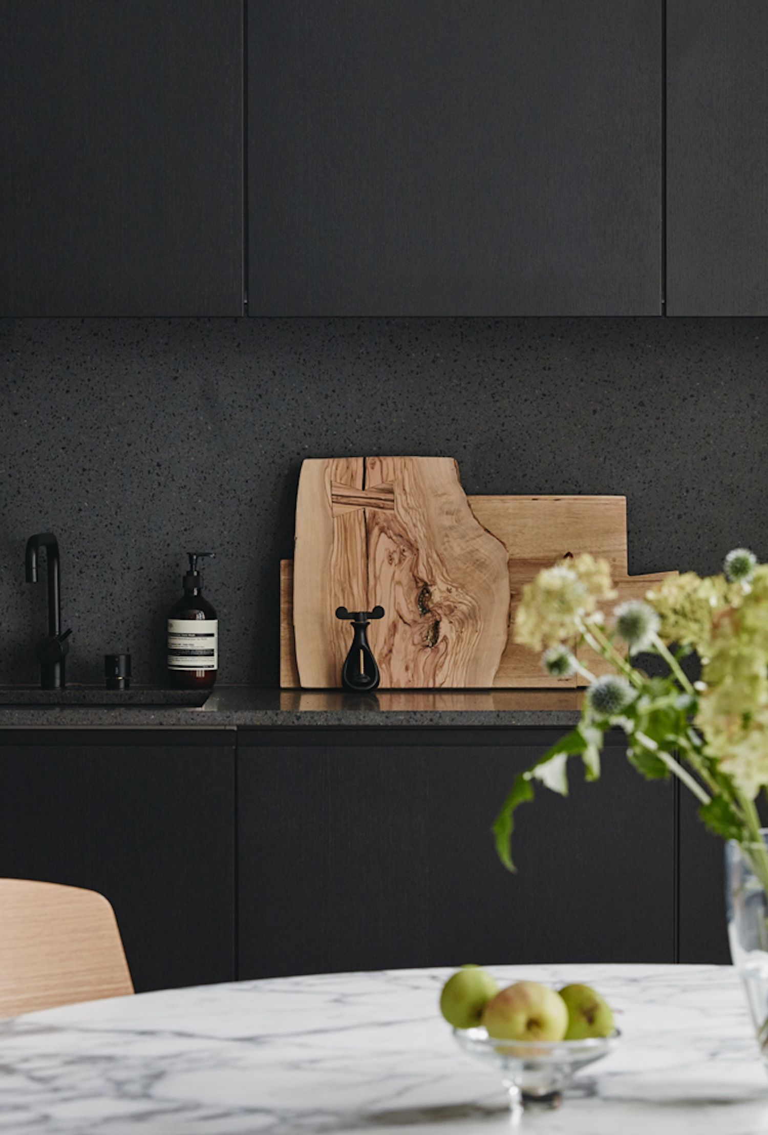 Painting It Black Matte Black Cabinetry Stone Counter And Splash