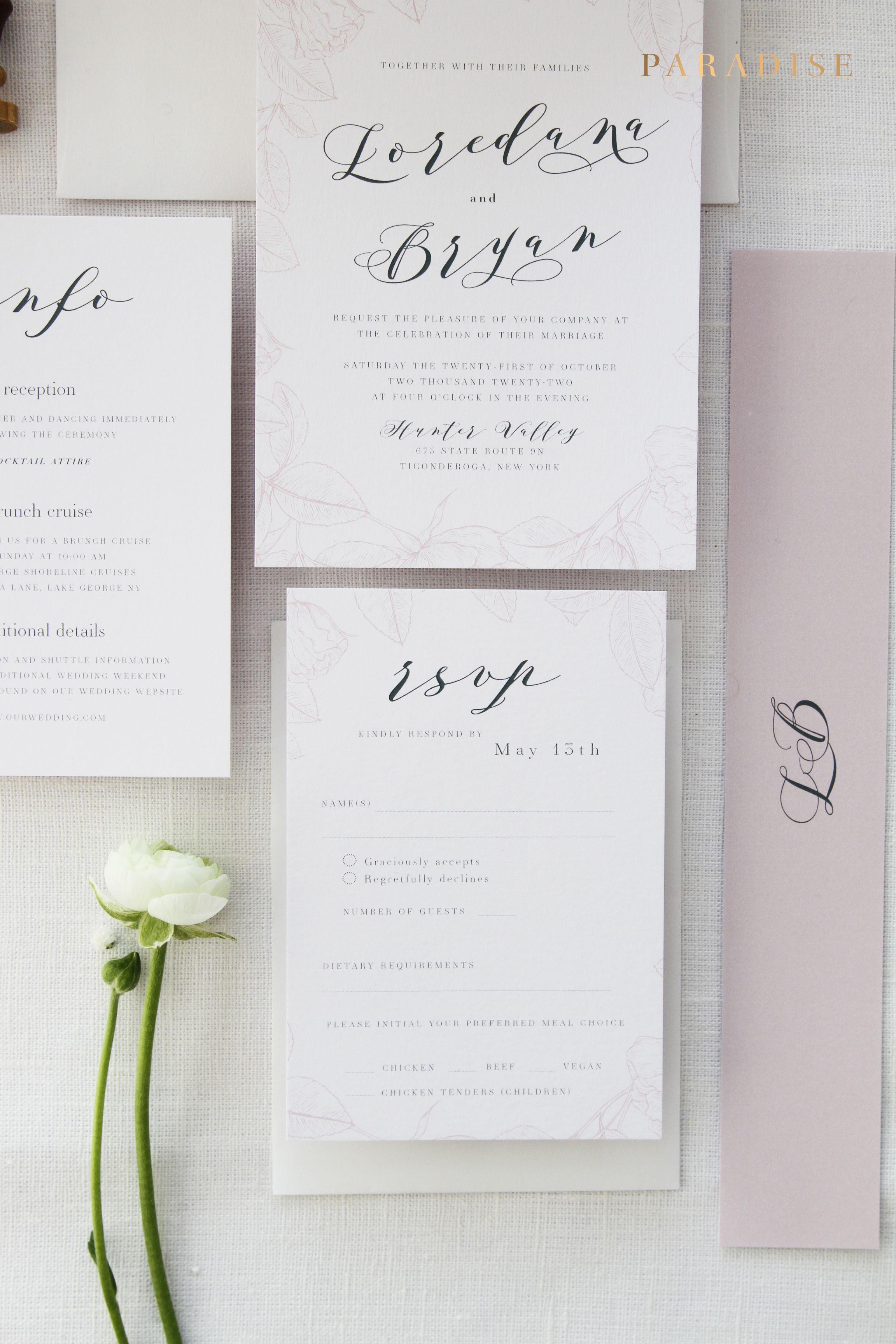 Alissa Soft Blush Wedding Invitation Sets Chic Elegant Kits Flower