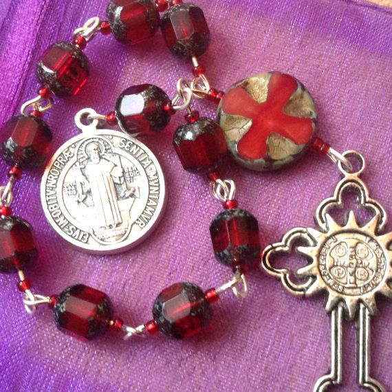 St Benedict Pocket Rosary One Decade Blood By