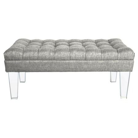Tufted lucite Montecarlo Bench in Silver from the Rojo 16