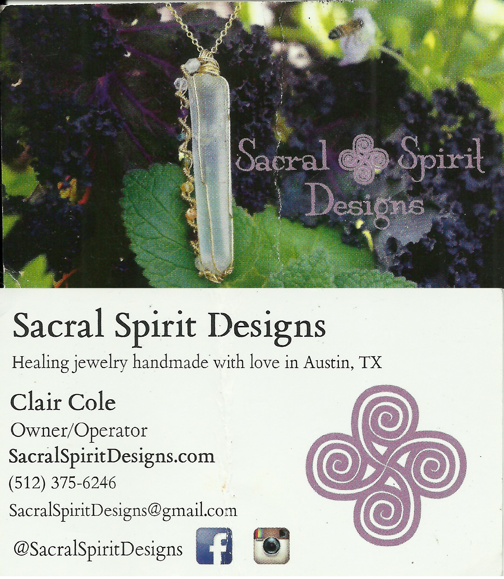 Sacral Spirit Designs Healing Jewelry handmade with love in