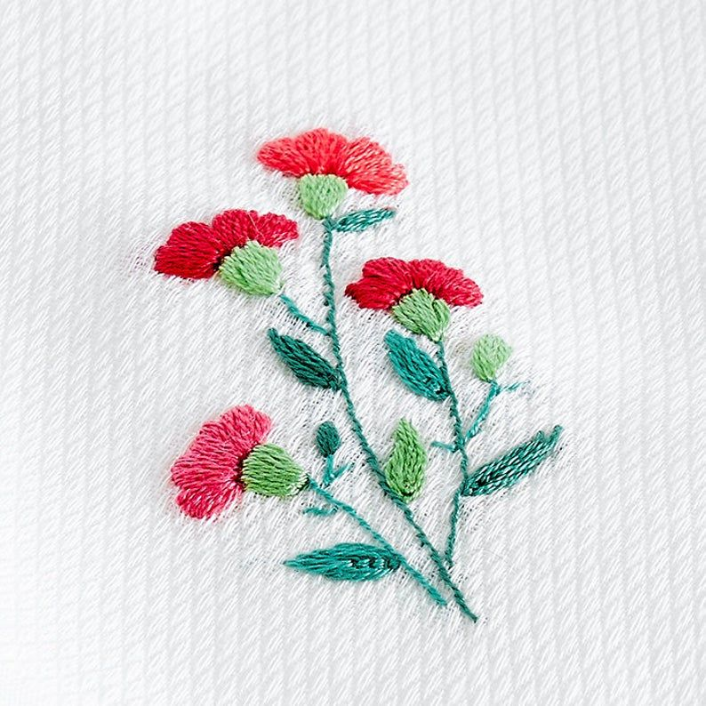 Tiny Carnation 2 7x2 Inches For A Handkerchief Perfect For Etsy In 2020 Hand Embroidery Handkerchief Embroidery Flower Embroidery Designs