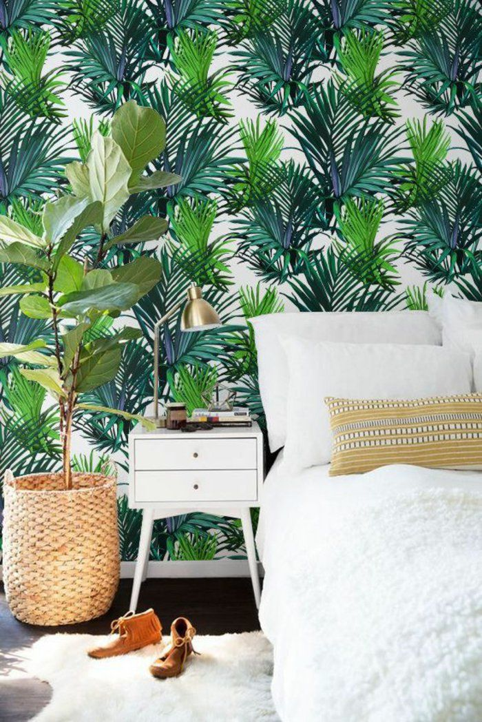1001 mod les de papier peint tropical et exotique deco pinterest habitaciones verdes. Black Bedroom Furniture Sets. Home Design Ideas
