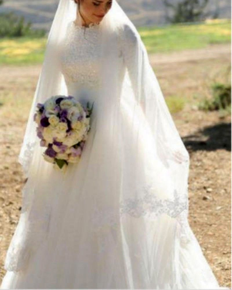 modest muslim wedding dresses high neck half sleeve bridal gown