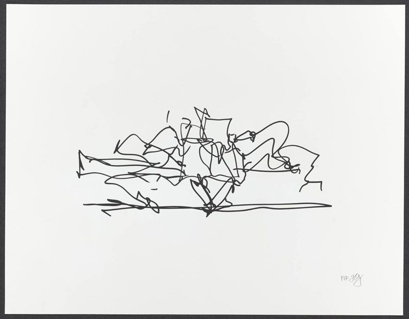 "Frank Gehry    Marques de Riscal Winery ,  2009  ( FG08-1592 )  1 color lithograph  14"" x 18""    Edition of 35"